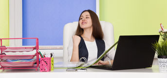 Business woman is successful with job. achievement in the busine Stock Photos