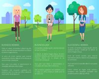 Business Woman Successful Lady Vector Illustration. With three ladies, sunny day, green grass and trees, bright sky, various formal suits, text sample Royalty Free Stock Photography