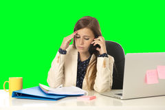 Business woman suffering stress at office computer isolated green chroma key Royalty Free Stock Image