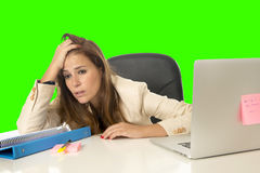 Business woman suffering stress at office computer isolated green chroma key Stock Images