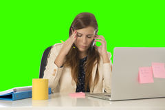 Business woman suffering stress at office computer isolated green chroma key Stock Photography