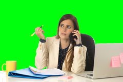 Business woman suffering stress at office computer isolated green chroma key Stock Image