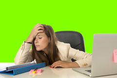 Business woman suffering stress at office computer isolated green chroma key Royalty Free Stock Photo