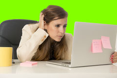 Business woman suffering stress at office computer isolated green chroma key Royalty Free Stock Photos