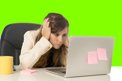 Business woman suffering stress at office computer isolated green chroma key Royalty Free Stock Images