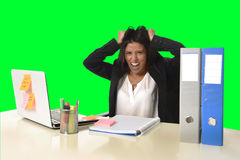 Business woman suffering stress working at office isolated green chroma key background Royalty Free Stock Photo