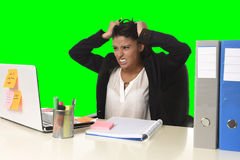 Business woman suffering stress working at office isolated green chroma key background Stock Photography
