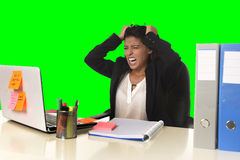 Business woman suffering stress working at office isolated green chroma key background Royalty Free Stock Image