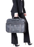Business woman in a suit with a bag Royalty Free Stock Images