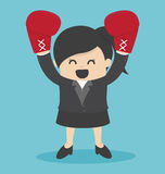 Business Woman in a suit and boxing gloves Stock Photography