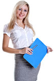 Business woman in a suit with clipboard Stock Images
