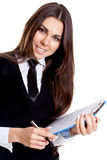Business woman in a suit with clipboard Stock Photos