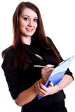 Business woman in a suit with clipboard Royalty Free Stock Images