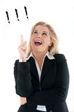 Business woman in a suit having an idea Royalty Free Stock Images