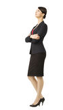 Business woman in suit, isolated over white background, full len Royalty Free Stock Photos