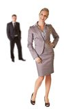 Business woman in suit with man isolated Royalty Free Stock Image