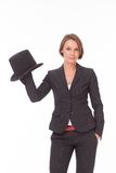 Business woman in suit play with bowler Stock Photography