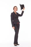 Business woman in suit play with bowler Royalty Free Stock Photos