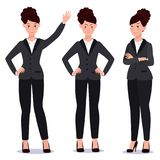 Business woman in suit set. Emotions. Poses. Stock Photography