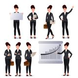 Business woman in suit set. Emotions. Poses. Royalty Free Stock Image