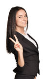 Business woman in a suit and skirt showing finger Royalty Free Stock Photography