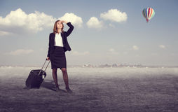 Business woman with suitcase Royalty Free Stock Photography