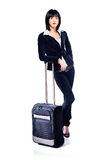 Business woman and suitcase. Young business woman and suitcase, isolated on white Stock Photography