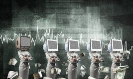 Modern technologies against old one. Business woman in suits with monitors instead of their heads keeping arms crossed while standing in a row and one at the Stock Photos