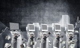 Modern technologies against old one. Business woman in suits with monitors instead of their heads keeping arms crossed while standing in a row and one at the Stock Images