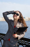 Business woman in sunglasses Stock Photos