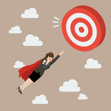 Business Woman Super Hero Fly to Big Target Stock Image
