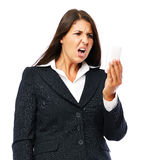 Business woman surprised angry news text message Royalty Free Stock Photography