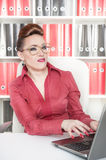 Business woman with a suspicious expression Royalty Free Stock Photo