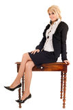 Business woman on table Royalty Free Stock Photo
