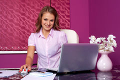 Business woman at table Stock Images