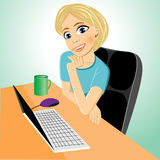 Business woman at table with laptop Stock Photos