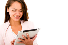 Business woman with a tablet Royalty Free Stock Photography