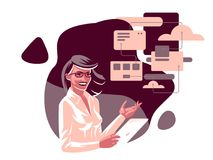 A business woman with a tablet. vector illustration