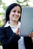 Business woman with tablet computer at outdoors Royalty Free Stock Photo