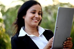 Business woman with tablet computer at outdoors Stock Photos