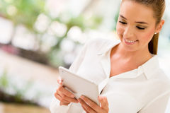 Business woman with tablet computer Stock Photos