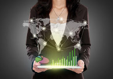 Business woman with tablet pc showing social connected Royalty Free Stock Photo