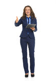 Business woman with tablet pc showing thumbs up Royalty Free Stock Images
