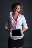 Business Woman with Tablet. Business Woman with white Tablet Royalty Free Stock Image