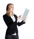 Business woman with tablet. Business woman working with tablet isolated on white background, modern computer widget, internet communication, successful people Stock Photos