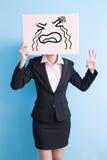 Business woman take billboard Royalty Free Stock Image