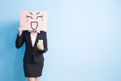 Business woman take billboard Royalty Free Stock Image
