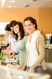 Business woman take cafeteria lunch smiling Royalty Free Stock Photos