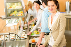 Business woman take cafeteria lunch smiling Royalty Free Stock Photography