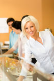 Business woman take cafeteria lunch smiling Stock Photography
